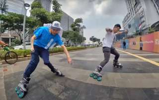 Session de roller freeride à Jakarta avec Nick Lomax