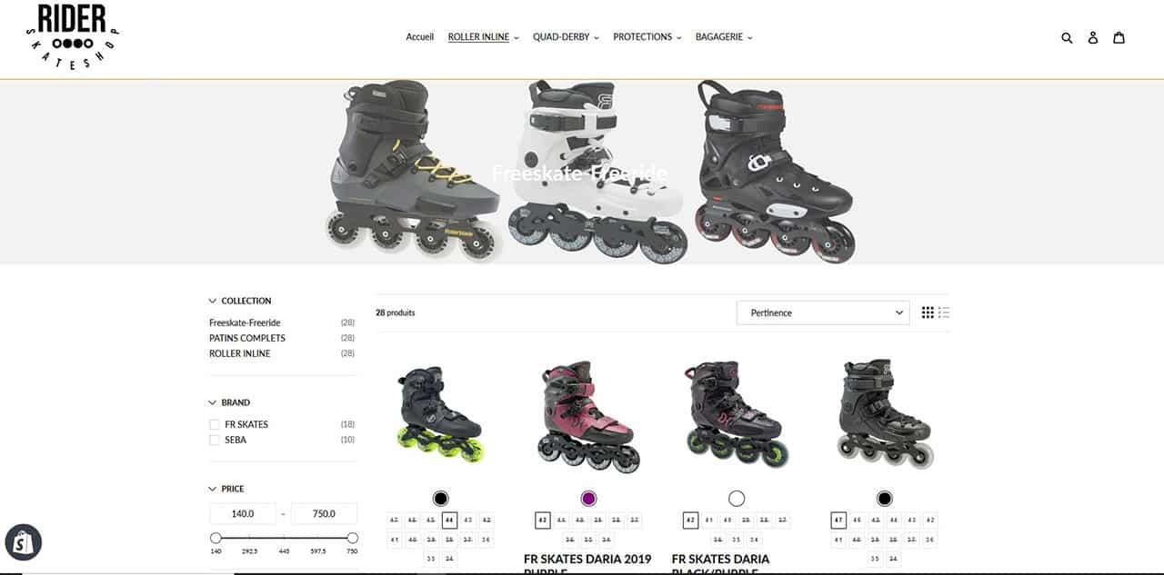 Capture d'écran Rider Skateshop