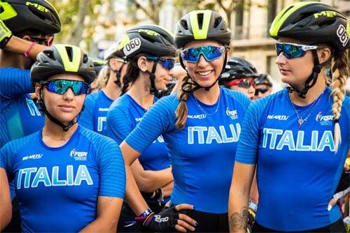Patineuses italiennes au départ du marathon du mondial roller course 2019