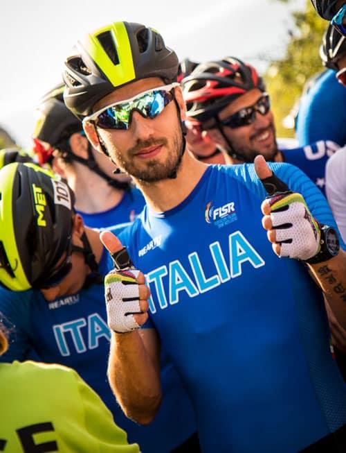 Patineur italien au départ du marathon du mondial roller course 2019