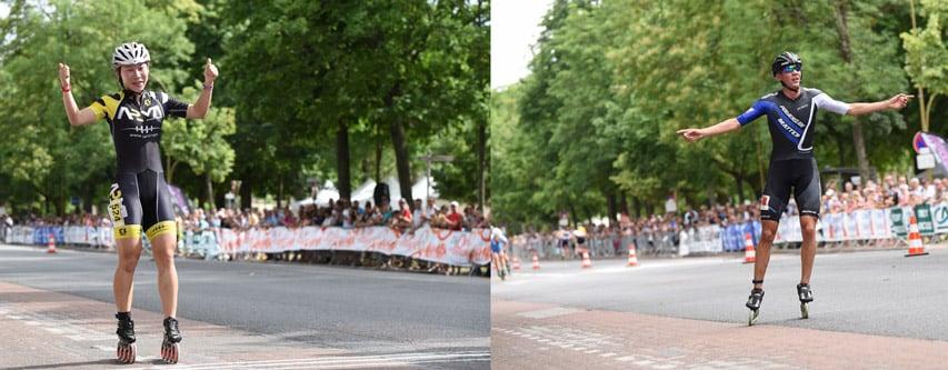 Guo Dan et Bart Swingss, vainqueurs du marathon roller de Dijon 2015