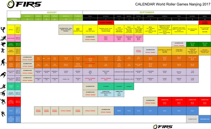 Calendrier Roller Games 2017