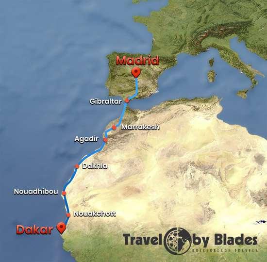 Carte du voyage de Johann Camboulive d'Espagne au Sénégal