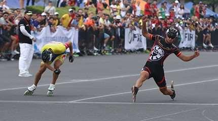 championnat monde roller course 2016 route action 100m seniors hommes small