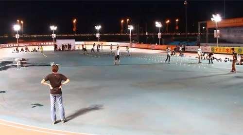L'aire de compétition au centre de la piste de course
