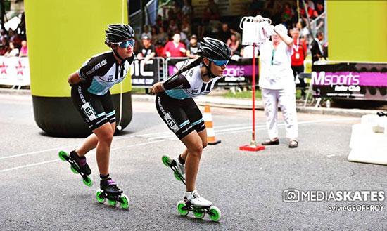 Katharina Rumpus et Chloé Geoffroy au marathon roller de dijon 2018