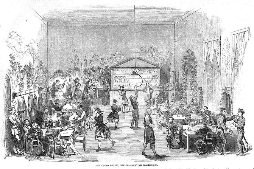 La Corso Halle de Berlin et ses serveurs en patins (1851)
