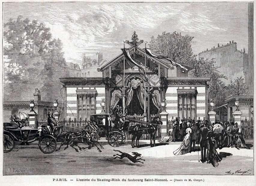 Entrée du Skating Rink du Faubourg Saint-Honoré (le Monde Illustré du 22 juillet 1876)