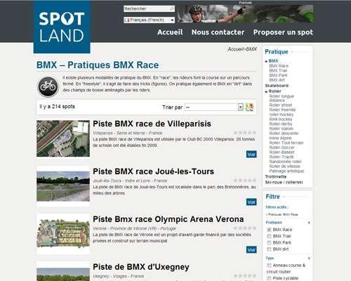 Exemple de recherche de piste de BMX