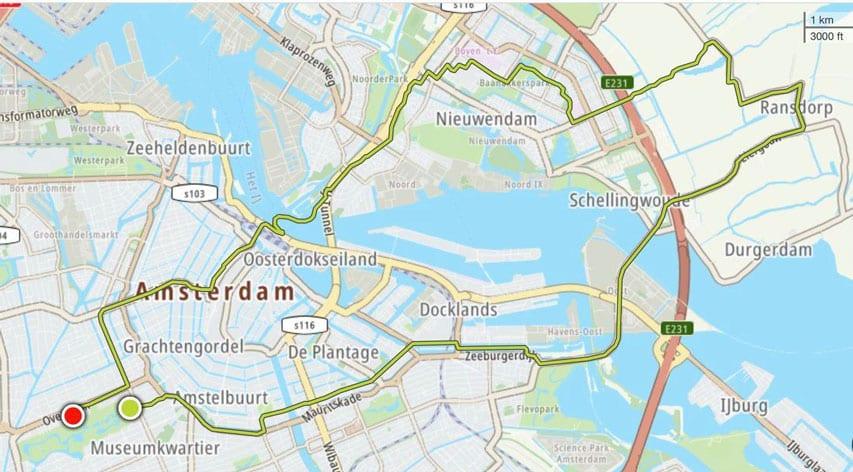 Exemple de parcours de la Friday Night Skate d'Amsterdam