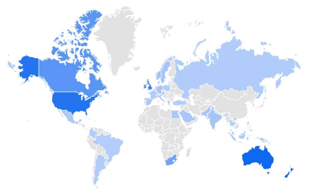 Les recherches sur le roller quad à travers le monde selon Google