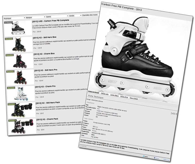 La rubrique catalogue de rollerenligne.com