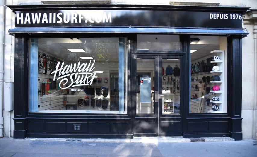 La vitrine du nouveau shop HawaiiSurf dans le 14e arrondissement de Paris