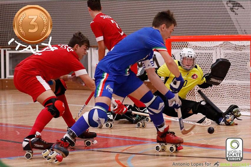 Match Italie Suisse - Championnat d'Europe U17 rink hockey 2019