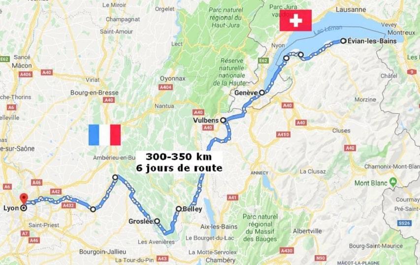 Le parcours du raid Mobile en Ville 2020 d'Evian à Lyon
