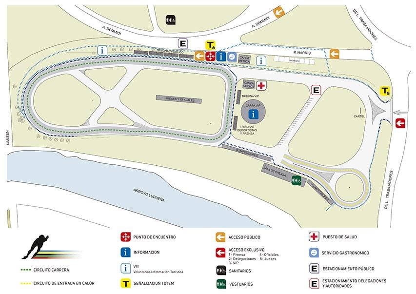 Plan du circuit routier de roller course de Rosario
