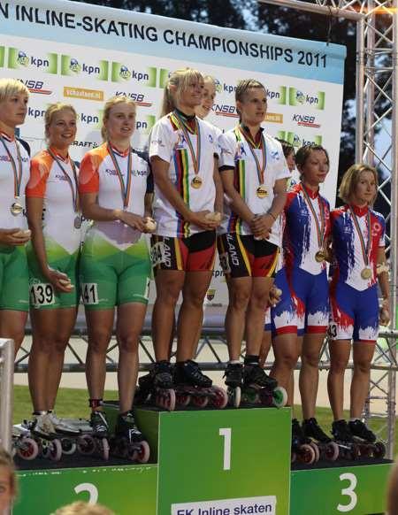 Podium féminin relais américaine championnat Europe 2011
