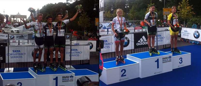 Les podiums du marathon roller de Berlin 2012