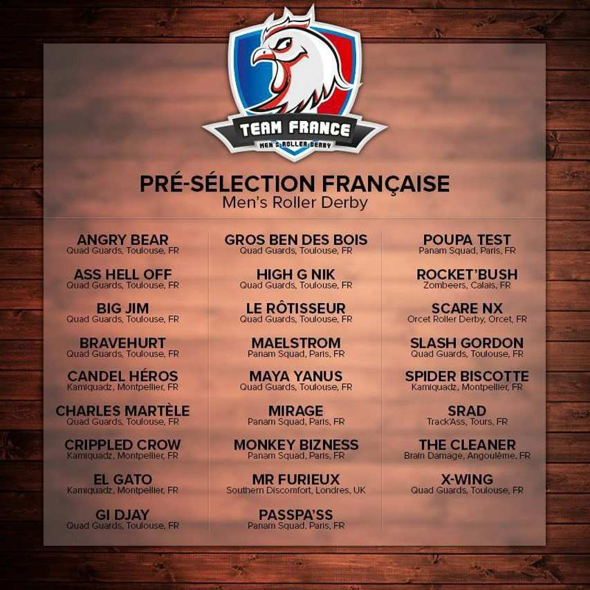 pre selection francaise mens roller derby 2013 2014