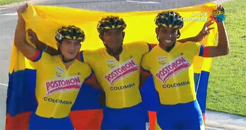 Le relais colombien vainqueur chez les juniors hommes