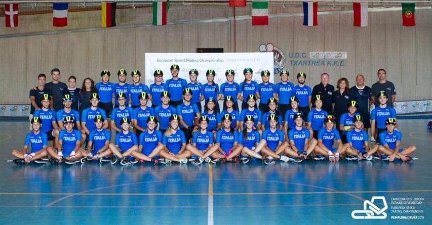 La sélection italienne pour le Championnat d'Europe de roller course 2019