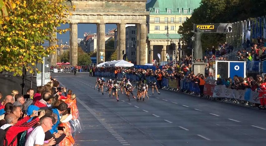 Sprint d'arrivée du peloton féminin au marathon roller de Berlin 2019
