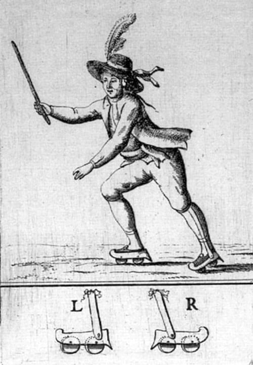 Un patineur relie Scheveningen à La Haye en 1790 - Source : (c) 2002 - Collectie Atlas Van Stolk - Mémoire des Pays-Bas