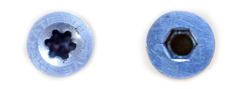 Axes de roller avec têtes torque et hexagonale